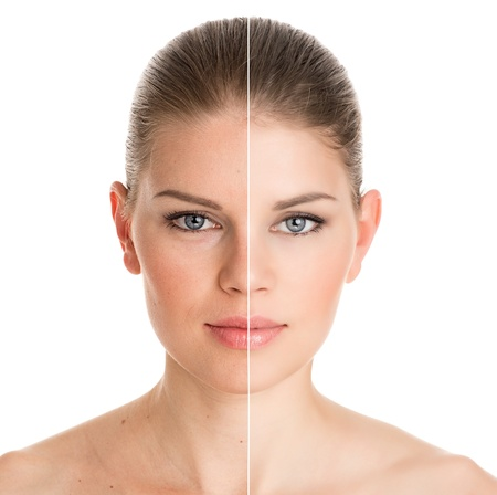Before and after cosmetic operation  Young pretty woman portrait, isolated on a white background