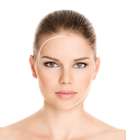 Rejuvenation procedure on beautiful woman s face, isolated on a white background