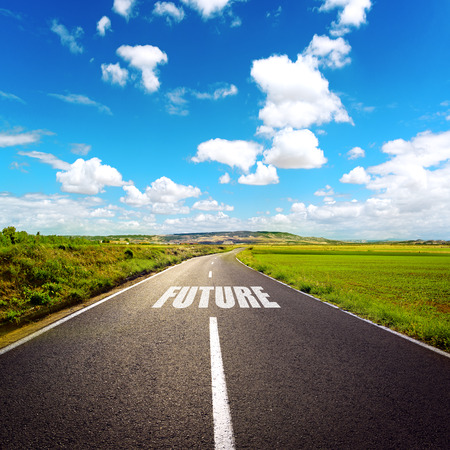 Photo pour A road to future. Beautiful landscape of highway through meadow and white clouds. - image libre de droit