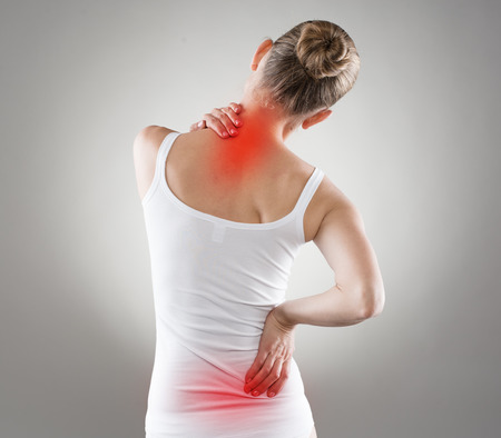 Spine osteoporosis. Scoliosis. Spinal cord problems on woman\'s back.