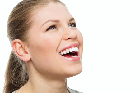 Teeth and gums treatment. Fresh breath. Portrait of attractive Caucasian woman with perfect smile.