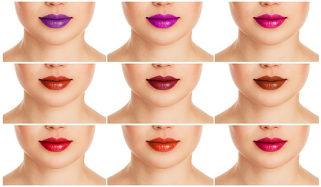 Collage of female lips with different colorful lipgloss. Fashion lips make-up and care.