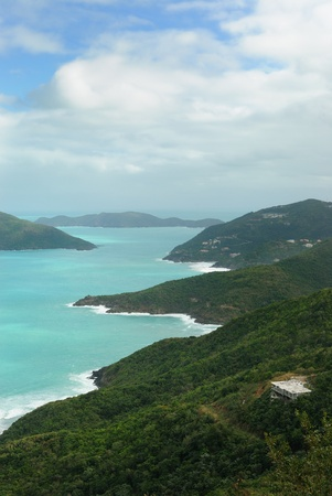 Tropical landscape in Tortola, a Caribbean island.