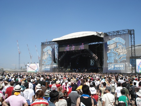 Crowds at the annual Summer Sonic in Osaka, Japan. August 11, 2008.