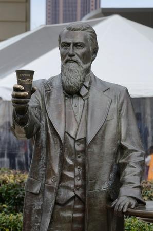 Atlanta, Georgia - February 21, 2011: A statue of John Pemberton, the inventor of Coca-Cola, in Atlanta Georgia.