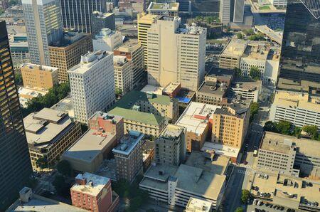 Aerial view of urban skyscrapers in downtown Atlanta, Georgia, USA.