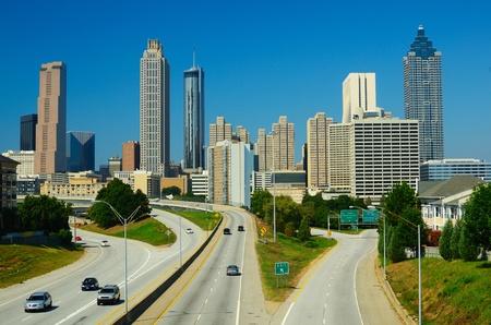 Skyline of downtown Atlanta, Georgia from above Freedom Parkway.
