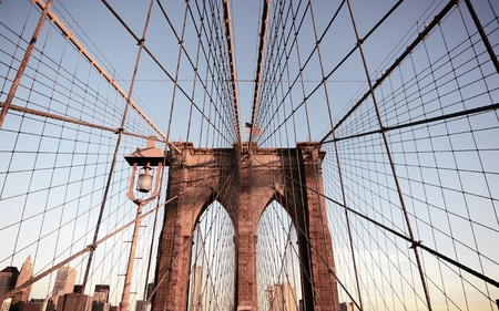 brooklyn bridge tower in new york city