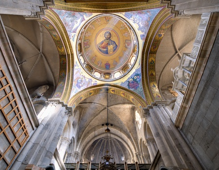 The dome of the Catholicon which is the church at the center of the Church of the Holy Sepulchre in Jerusalem, Israel.