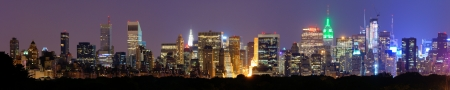 Panorama of midtown Manhattan at night in New York City
