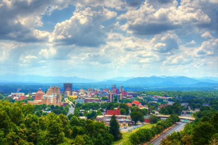 Asheville, North Carolina skyline nestled in the Blue Ridge Mountains