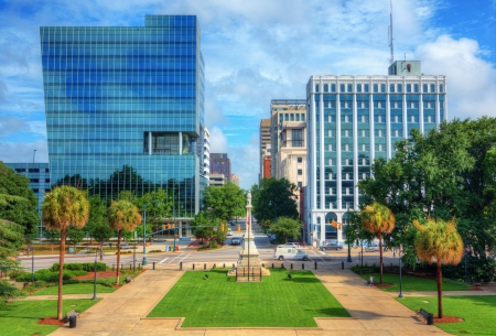 Skyline of downtown Columbia, South Carolina on Main Sreet.