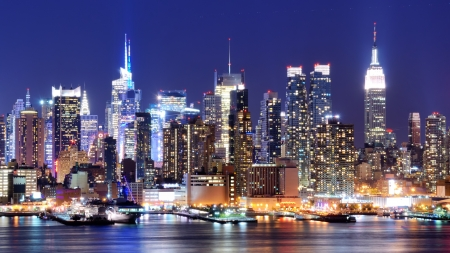Skyline and modern office buildings of Midtown Manhattan viewed from across the Hudson River