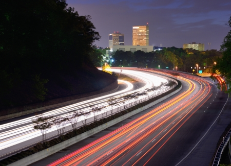 Greenville, South Carolina skyline above the flow of traffic on Interstate 385.