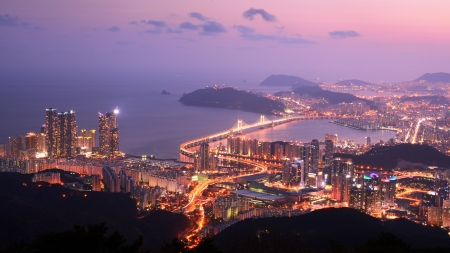 Busan, South Korea Skyline Wallpaper Mural
