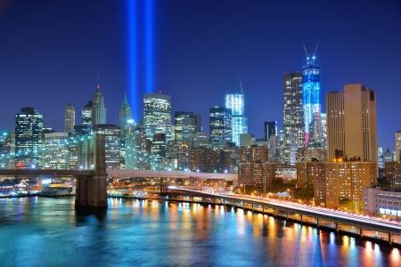 Manhattan skyline with Tribute in Light 911 Memorial