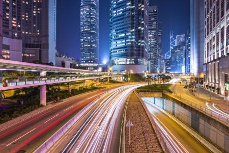 Hong Kong Island financial district cityscape.
