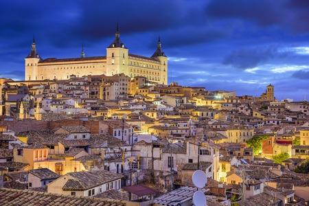 Toledo, Spain town skyline at the Alcazar at dawn.