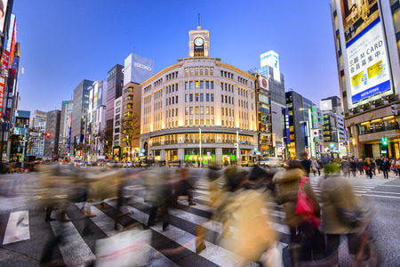 TOKYO, JAPAN - DECEMBER 25, 2012: The Ginza District at Wako Department store. The district offers high end retail shopping.