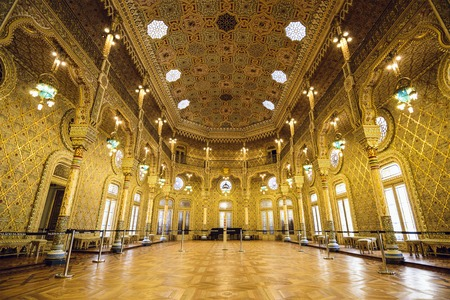 PORTO, PORTUGAL - OCTOBER 15, 2014: The Stock Exchange Palace (Palacio da Bolsa) in the Arab Room. The palace was built in the 19th century by the city's Comercial Association.