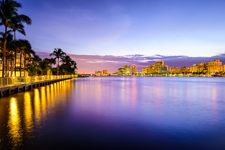 West Palm Beach, Florida, USA view of the Atlantic Intracoastal Waterway