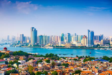 city skyline from Gulangyu Island in Xiamen, China