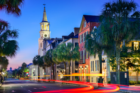 cityscape at  St. Michael's Episcopal Church in Charleston, South Carolina, USA