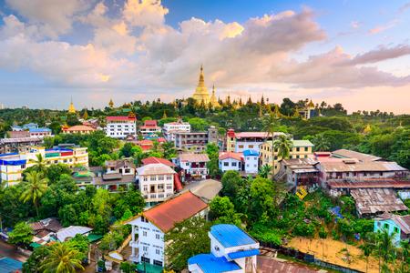 Yangon, Myanmar city skyline.