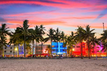 Miami, Florida, USA cityscape on Miami Beach at Ocean Drive.