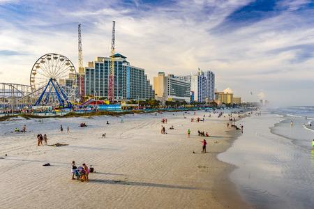 DAYTONA BEACH, FLORIDA - FEBRUARY 2, 2015: Beachgoers on Daytona Beach.