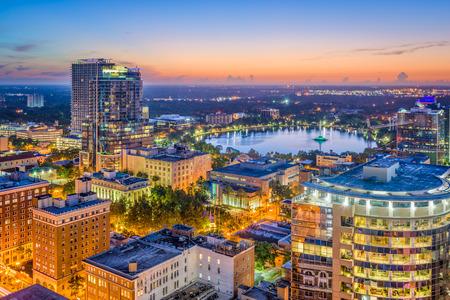 Orlando, Florida, USA aerial skyline towards Lake Eola.
