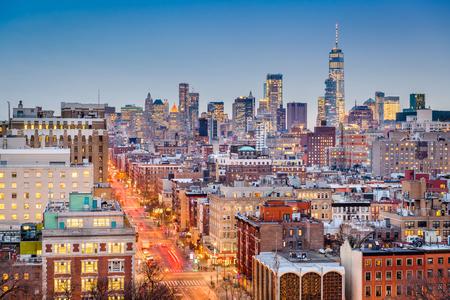 New York, New York, USA cityscape at dusk over Manhattan towards downtown.
