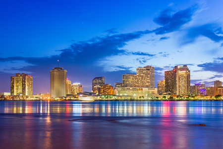 Photo for New Orleans, Louisiana, USA downtown city skyline on the Mississippi River at dusk. - Royalty Free Image