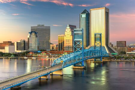 Photo for Jacksonville, Florida, USA downtown city skyline at dusk. - Royalty Free Image