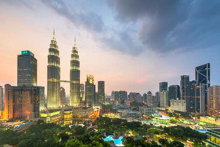 Photo for Kuala Lumpur, Malaysia park and skyline at  dusk. - Royalty Free Image