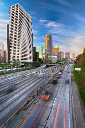 Photo for Los Angeles, California, USA Downtown Skyline and Highways - Royalty Free Image