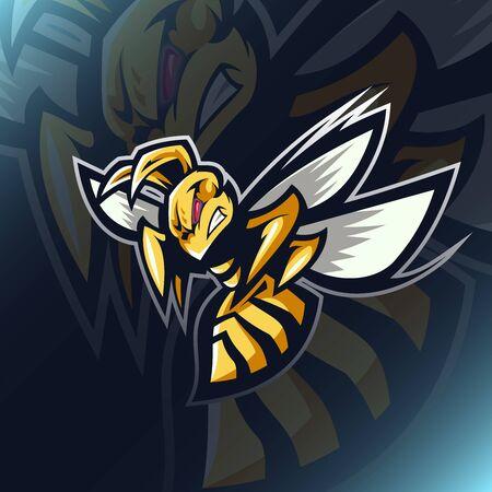 Illustration pour Angry bee e sport mascot design - image libre de droit