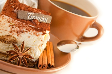 Photo for Cake tiramisu and a cup of hot coffee - Royalty Free Image