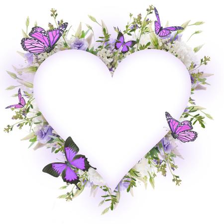Foto de Bridal bouquet from white and pink flowers, butterfly - Imagen libre de derechos