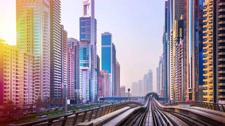 Photo pour General view of Dubai Marina. Line of the city skyline. - image libre de droit