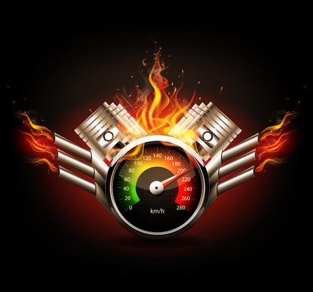 Illustration pour Racing background, speedometer and pistons. - image libre de droit