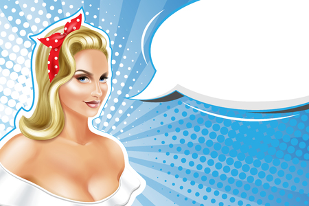 Illustration for Sexy blonde woman, pin up style, retro background. - Royalty Free Image