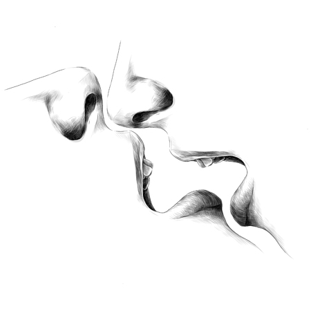 face open mouth lips nose passion sex reflection sketch vector graphics monochrome black-and-white drawing