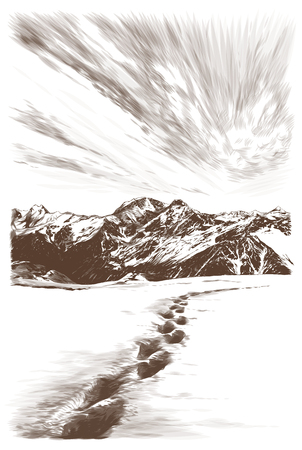 landscape postcard depicting snowy mountain peaks at sunset, human footprints in the snow in the foreground going off into the distance, sketch vector graphics monochrome illustration