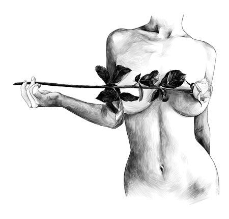 Illustrazione per Nude female breast covered with rose flower, sketch vector graphic monochrome illustration on white background - Immagini Royalty Free