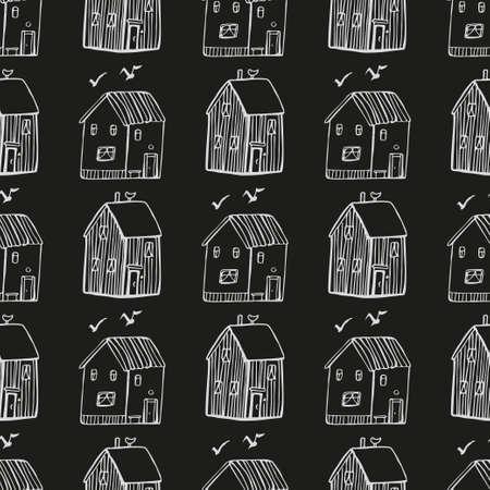 Photo pour Seamless vector pattern with houses. - image libre de droit