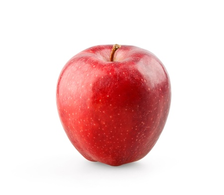 Ripe red apple on white background