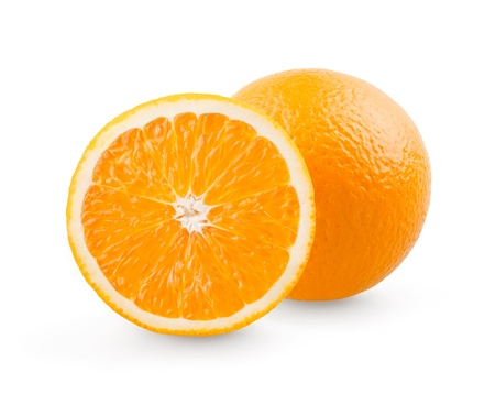 Orange and slice on white background
