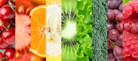 Healthy food background. Ã'ollection with different fruits, berries and vegetables