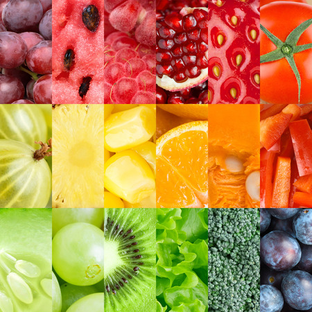 Collection of healthy fresh fruits and vegetables backgrounds
